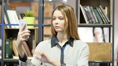Woman Using Smartphone, Indoor Office Stock Footage