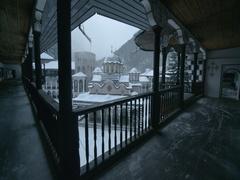 Corridors with wooden railing of the Bulgarian monastery Ivan Rilski Stock Footage