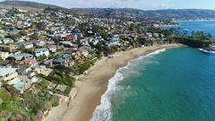 4K Laguna Beach - Flying South over Crescent Bay Stock Footage