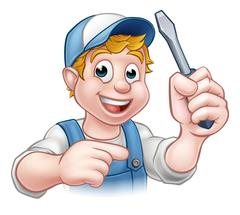 Cartoon Handyman Electrician Holding Screwdriver Stock Illustration