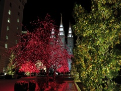 LDS Temple Salt Lake City Utah night Christmas DCI 4K Stock Footage
