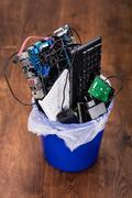 Hardware Equipment In Dustbin Stock Photos