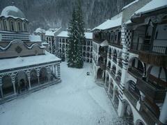 Bulgarian monastery Yoan Rilski during winter Stock Footage
