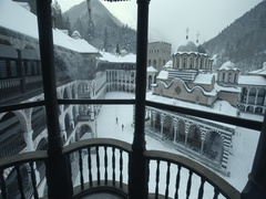 Bulgarian monastery Ivan Rilski winter high point of view Stock Footage