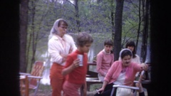 1968: family gathering at a camp site MICHIGAN Stock Footage