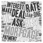 Best mortgage deal UK put your best foot forward text background wordcloud co Stock Illustration