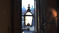 The old street lamp in Stockholm. Sweden. 4K. Stock Footage