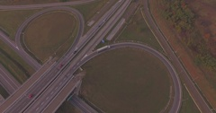 Follow white truck and trailer enter Highway Stock Footage