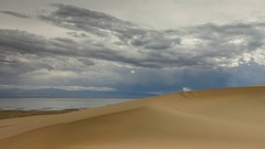 Clouds over the Sands Mongol Els, Mongolia. Full HD Stock Footage