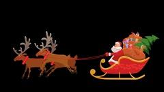 Cartoon Santa Sleigh Ride with Alpha Stock Footage