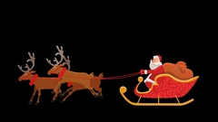 Santa Sleigh Ride with Alpha Transparency Stock Footage
