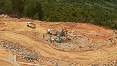 Upper View Road Building Site Machines Equipment Stock Footage