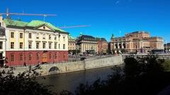 Equestrian statue of King Gustav II Adolf against the Royal Swedish Opera. Stock Footage