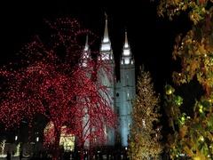 Salt Lake City Temple night Christmas lights DCI 4K Stock Footage