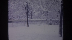 1968: ground, trees, shelters etc sleep under the blanket of snow MICHIGAN Stock Footage