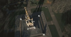 Aerial close up view of the Royal Albert Memorial in London Stock Footage
