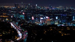 Downtown Los Angeles and Hollywood Freeway at Night Timelapse Stock Footage