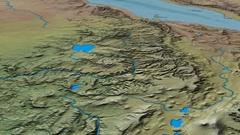 Glide over Ethiopian Highlands range - masks. Natural Earth Stock Footage
