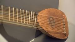 Old unique vintage musical string instrument, medium shot, shallow DOF Stock Footage