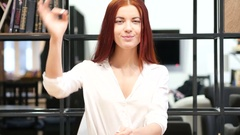 Woman Showing Ok Sign, Indoor Stock Footage