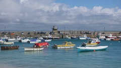 Boats in St. Ives harbor with zoom in Stock Footage