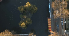 Aerial ascending turning view of Little Venice area in London Stock Footage