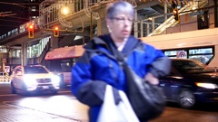 Following bus driving to bus terminal at night with 4k resolution. Stock Footage