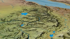 Glide over Ethiopian Highlands range - masks. Topographic map Stock Footage
