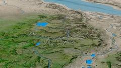 Glide over Ethiopian Highlands range - masks. Satellite imagery Stock Footage