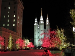 Salt Lake City Utah LDS Temple night Christmas DCI 4K Stock Footage
