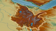 Zoom into Ethiopian Highlands mountain range - glowed. Relief map Stock Footage