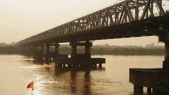 Chuong Duong Bridge in Hanoi On the Sunset. Vietnam Stock Footage