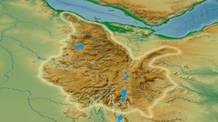 Zoom into Ethiopian Highlands mountain range - glowed. Colored physical map Stock Footage