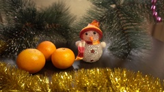 New Year. Christmas composition of mandarins, Christmas tree branches  Stock Footage