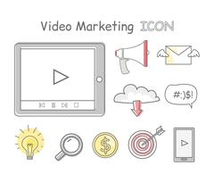 Video Marketing Icons Isolated on White Piirros