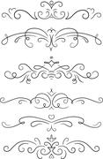 Set of 6 decorative swirls elements, dividers, page decors. Stock Illustration
