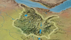 Zoom into Ethiopian Highlands mountain range - glowed. Topographic map Stock Footage
