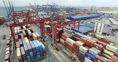 Container shipping in seaport, istanbul, turkey Stock Footage