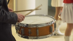 Drummer Playing on the snare drum in a concert Stock Footage