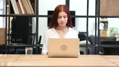 Loss, Woman Reacting To Failure, Working on Laptop Stock Footage
