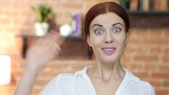 Hi, Hello, Woman Waving Hand, Welcome, Indoor Stock Footage