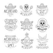 National Traditional Mexican Cuisine Restaurant Hand Drawn Black And White Sign Stock Illustration