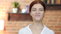 Gesture of Yes, Shaking Head, Female Portrait Stock Footage