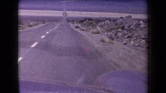 1958: driving quickly on a long desolate highway ARIZONA Stock Footage