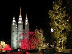 Salt Lake City Utah Mormon Temple night Christmas DCI 4K Stock Footage