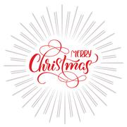 Merry Christmas text and abstract background with rays. Calligraphy lettering Stock Illustration