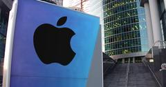 Street signage board with Apple Inc. logo. Modern office center skyscraper and Stock Illustration