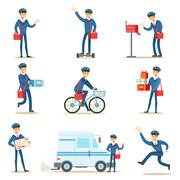 Postman In Blue Uniform With Red Bag Delivering Mail And Other Packages Stock Illustration