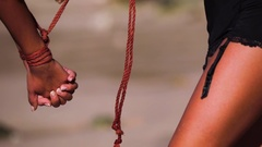 Two young glamorous sexy beautiful brunettes with shibari. Tied blindfolded Stock Footage