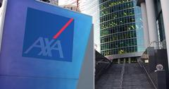 Street signage board with AXA logo. Modern office center skyscraper and stairs Stock Illustration